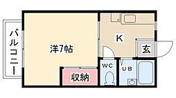 ダリアMアパートメント[203号室]の間取り