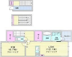 仙台市営南北線 泉中央駅 5kmの賃貸アパート 3階1LDKの間取り