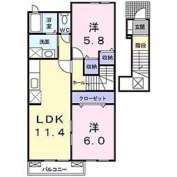 鹿児島県日置市日吉町日置の賃貸アパート 2階2LDKの間取り