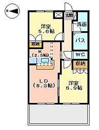静岡県駿東郡清水町徳倉の賃貸アパートの間取り