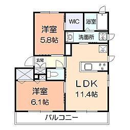 神奈川県平塚市田村2丁目の賃貸アパートの間取り