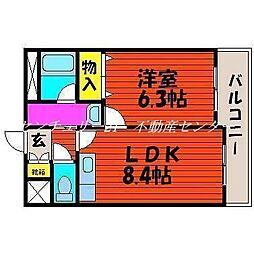 JR山陽本線 西川原駅 徒歩6分の賃貸マンション 4階1LDKの間取り