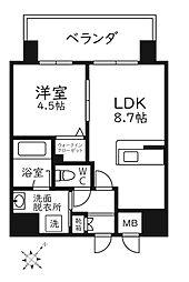 福岡市地下鉄七隈線 渡辺通駅 徒歩9分の賃貸マンション 4階1LDKの間取り