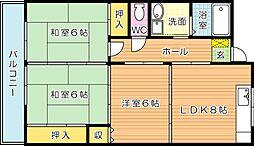 サンフル永犬丸 B棟[3階]の間取り