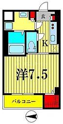 東武亀戸線 小村井駅 徒歩6分の賃貸マンション 4階1Kの間取り