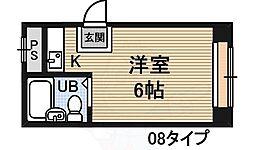 昭和グランドハイツ西三国 6階ワンルームの間取り