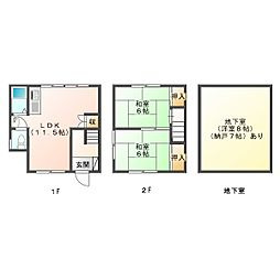 [一戸建] 兵庫県神戸市垂水区千代が丘1丁目 の賃貸【/】の間取り