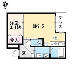 近鉄京都線 伏見駅 徒歩23分の賃貸アパート 1階1DKの間取り