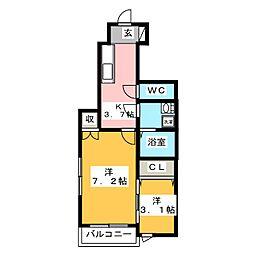 プレジデント桜[1階]の間取り