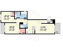 La Casa Siesta 3階2LDKの間取り