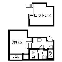 アルテミス新栄 1階1Kの間取り
