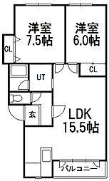西野パークマンションA[2階]の間取り