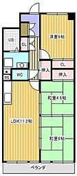 新松戸ファミールハイツ4号棟[809号室]の間取り