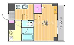 JR宇野線 大元駅 徒歩7分の賃貸マンション 10階1Kの間取り