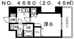 ブリリアントコート西田辺[702号室号室]の間取り