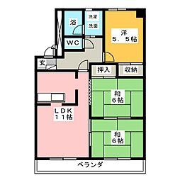 パークサイド花水木[3階]の間取り
