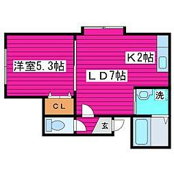 北海道札幌市東区北四十一条東13丁目の賃貸アパートの間取り