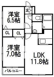 北海道札幌市西区八軒七条東5の賃貸アパートの間取り