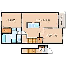 奈良県香芝市真美ケ丘の賃貸アパートの間取り