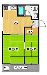 今泉3丁目 2DK マンション[4階]の間取り