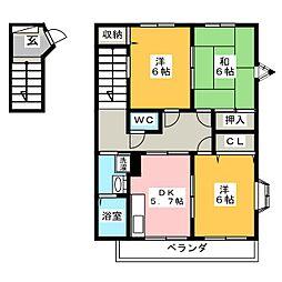 ハイステージ楓 B[2階]の間取り