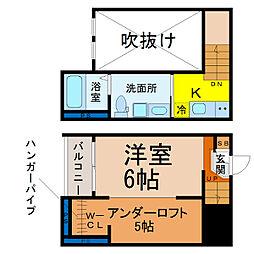 愛知県名古屋市天白区野並2の賃貸アパートの間取り