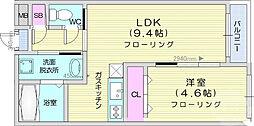 JR東北本線 仙台駅 徒歩13分の賃貸マンション 1階1LDKの間取り
