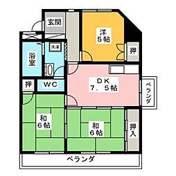 レジデンスファミール[6階]の間取り