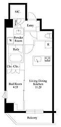 JR山手線 御徒町駅 徒歩9分の賃貸マンション 8階1LDKの間取り