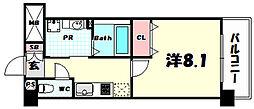 新神戸Vita 8階1Kの間取り