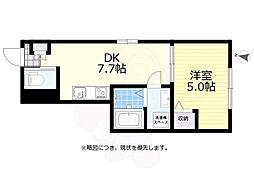 京王線 仙川駅 徒歩12分の賃貸アパート 1階1DKの間取り