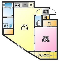 NEXUS陣ネクサスジン 3階1LDKの間取り