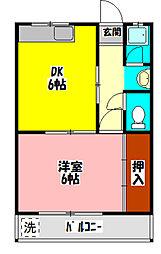 第7川辺ビル 2階1DKの間取り