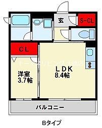 JR鹿児島本線 竹下駅 徒歩10分の賃貸マンション 1階1LDKの間取り