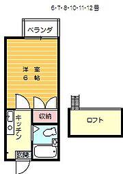 シャンツェin城山弐番館 1階1Kの間取り