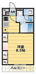 HANATEN EAST[3階]の間取り