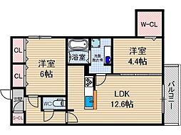 レセンテ南茨木[1階]の間取り