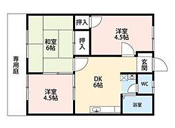 福岡県北九州市八幡西区高江2丁目の賃貸アパートの間取り