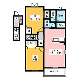 愛知県小牧市小牧1丁目の賃貸アパートの間取り