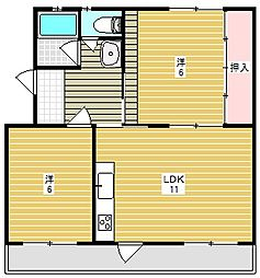 富田第二住宅64棟[4階]の間取り
