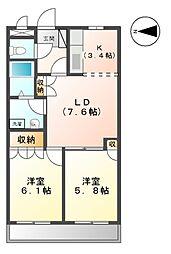 静岡県富士宮市矢立町の賃貸マンションの間取り
