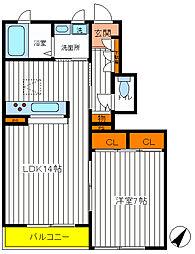 東京都立川市栄町3丁目の賃貸アパートの間取り