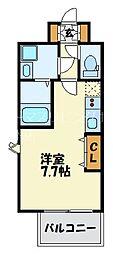 福岡市地下鉄七隈線 渡辺通駅 徒歩4分の賃貸マンション 13階1Kの間取り