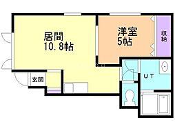 JR学園都市線 新琴似駅 徒歩9分の賃貸アパート 1階1LDKの間取り