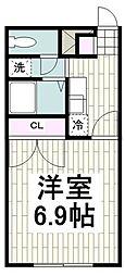 アンプルール湘南ヒルズ 1階1Kの間取り