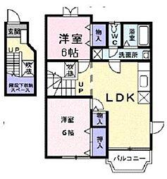 滋賀県大津市下阪本4丁目の賃貸アパートの間取り