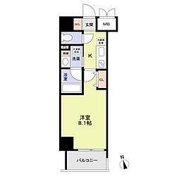 名古屋市営鶴舞線 丸の内駅 徒歩8分の賃貸マンション 6階1Kの間取り