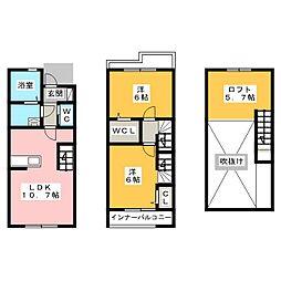 [テラスハウス] 愛知県名古屋市中村区香取町1丁目 の賃貸【/】の間取り
