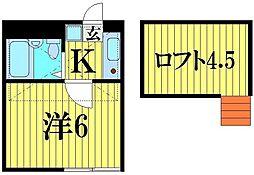 埼玉県越谷市袋山の賃貸アパートの間取り