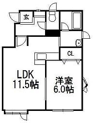 北海道札幌市手稲区前田八条17丁目の賃貸アパートの間取り